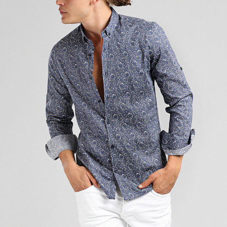 Los Cabos Button Down Shirt // Navy Blue (L)