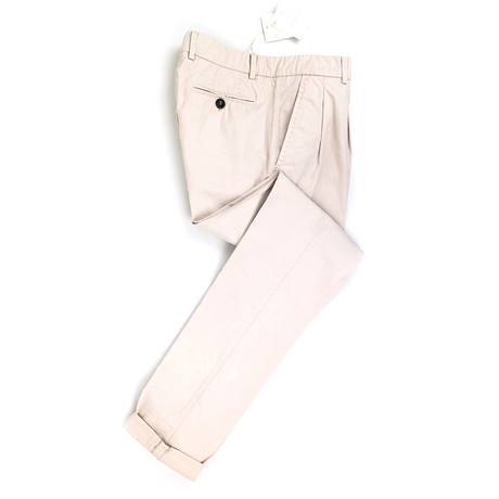 Cotton Pleated Casual Pants // Khaki (44)