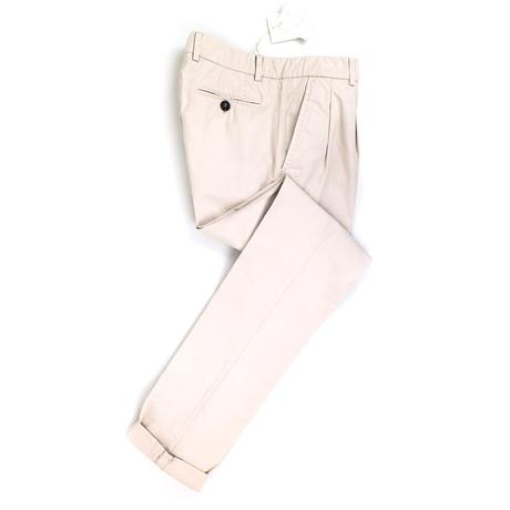 Cotton Pleated Casual Pants // Khaki (Euro: 50)