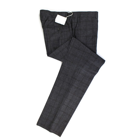 Plaid Wool Blend Dress Pants // Gray (56)