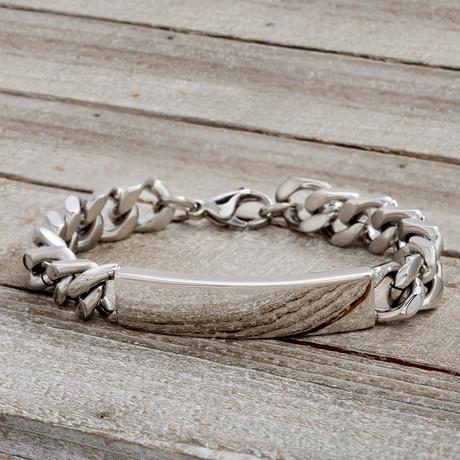 ID Plate Chain Bracelet // Silver