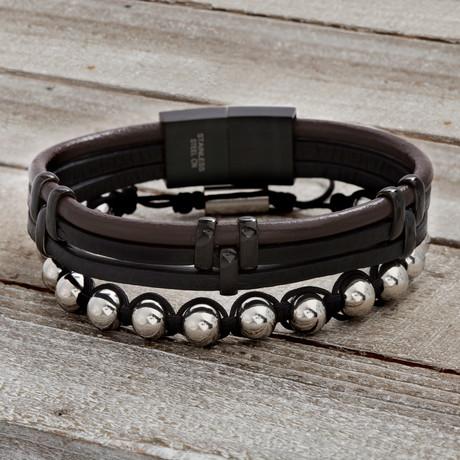 Leather Strap + Polished Balls // Brown + Black // Set of 2