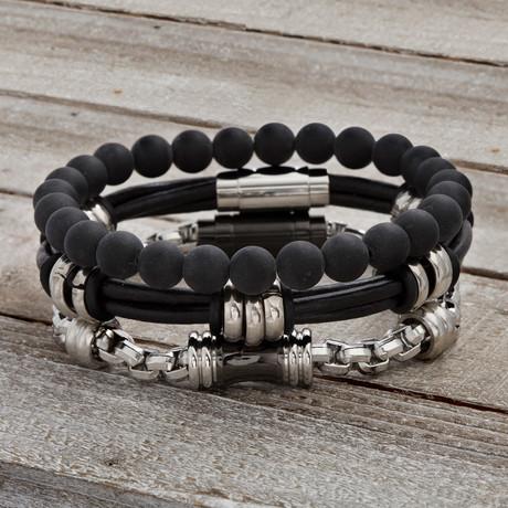 Leather Strap + Chain + Onyx Beaded Bracelet // Black // Set of 3