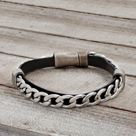 Leather Rondelle Curb Chain Bracelet // Black