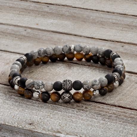 Tiger Eye + Onyx Bracelet // Gray + Black + Brown // Set of 2