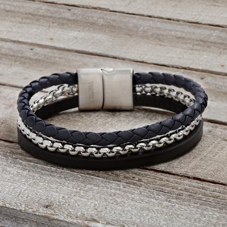 Triple Stranded Leather Braided Bracelet // Black + Blue