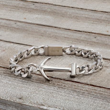 Anchor + Curb Chain Bracelet // White