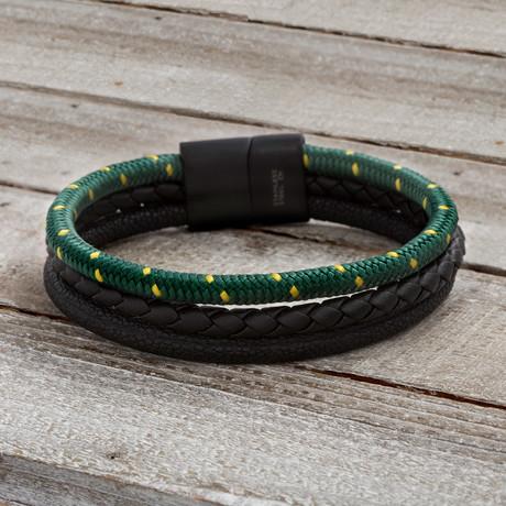 Triple Cord Braided Bracelet // Black + Green