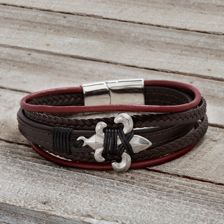 Fleur De Lis Multistrand Leather Bracelet // Red + Brown