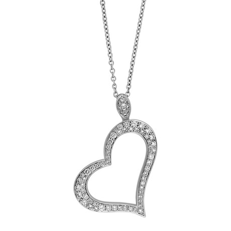Vintage Piaget 18k White Gold Diamond Open Heart Necklace // Chain: 16.5""