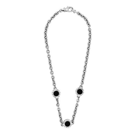 Vintage Bvlgari 18k White Gold Onyx 3 Station Necklace // Chain: 15""