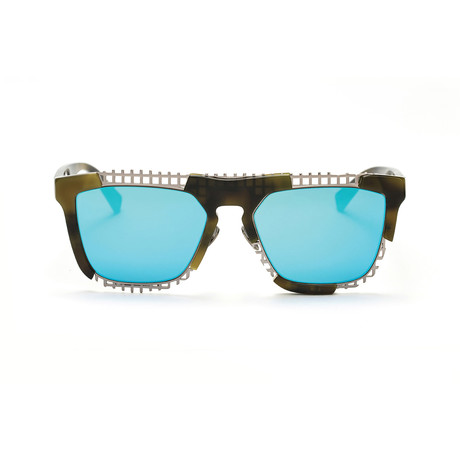 Coz Sunglasses // Olive + Teal Blue Mirror