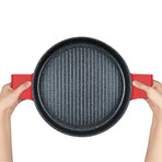 Stovetop Oven Grill Pan + Steam Lid (Black)