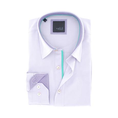 Plaid-Trim Button-Up Shirt // Lilac (S)