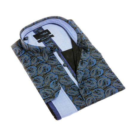 Santiago Digital Print Shirt Button-Up // Black (S)