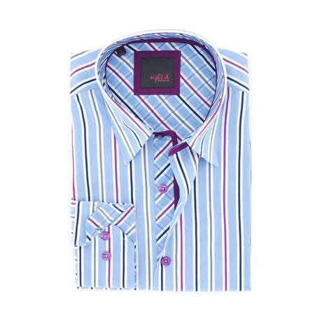 Stripe Button-Up // Blue + Purple (S)