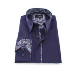 Solid Button-Up + Paisley Trim // Purple (S)
