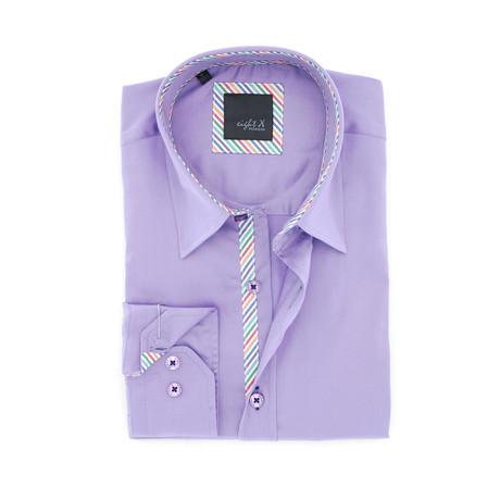 Stripe-Trim Button-Up Shirt // Purple (S)