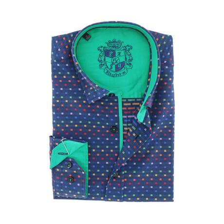 Logan Jacquard Button-Up // Navy (S)