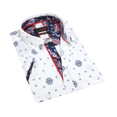 Elliot Digital Print Shirt Button-Up // White (S)