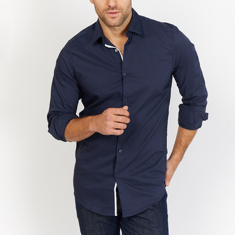 Blanc // Solid Button Up // Navy (X-Large)