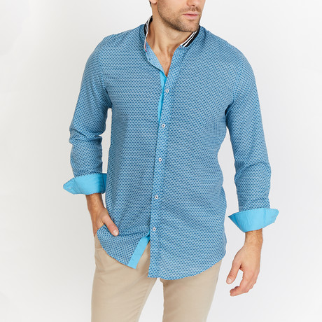 Brian Print Button Up // Blue (L)