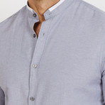 Nathan Mandarin Collar Button Up // Gray (L)