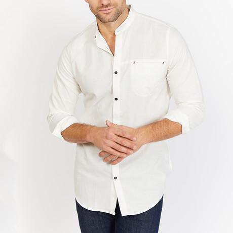 Phil Mandarin Collar Button Up // White (S)
