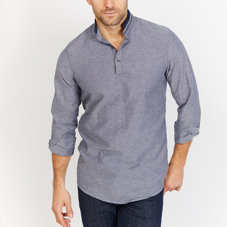 Smith Collarless Shirt // Smoke Gray (L)