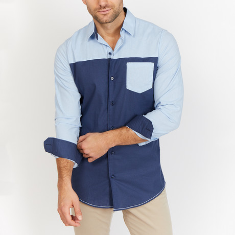 Blanc // Button Up // Navy + Light Blue (Small)