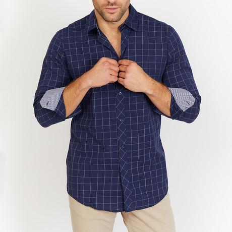 Larry Check Button Up // Navy (XL)