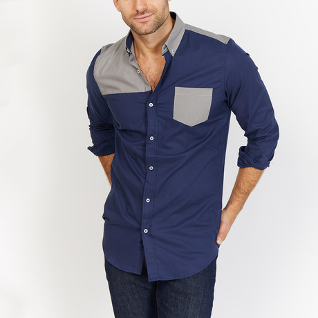 Blanc // Button Up // Navy + Gray (Small)
