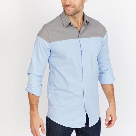 Blanc // Button Down // Blue + Gray (Small)