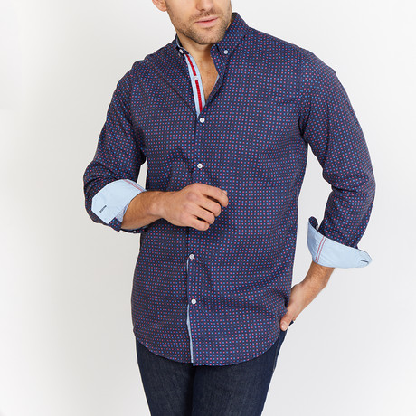 Blanc // Patterned Button Up // Navy (Medium)