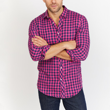 Raphael Check Button Up // Blue + Pink (M)