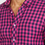 Raphael Check Button Up // Blue + Pink (M)