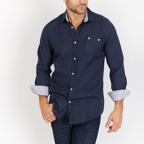 Louis Button Up // Navy (XL)