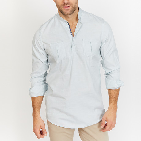 Blanc // Button Up // Light Turquoise (Small)