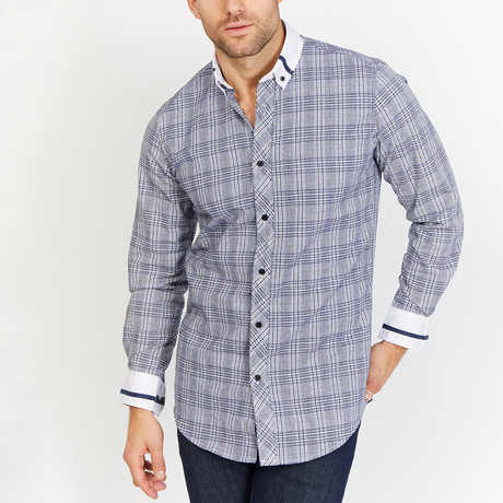 Blanc // Button Up // White + Gray + Navy Plaid (Small)