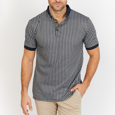 Logan Patterned Polo Shirt // Gray (S)