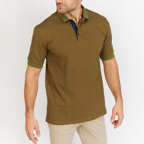 Benjamin Polo Shirt // Army Tan + Green (S)