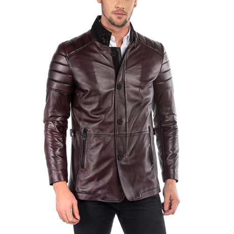 Piero Leather Jacket Slim Fit // OxBlood (XS)