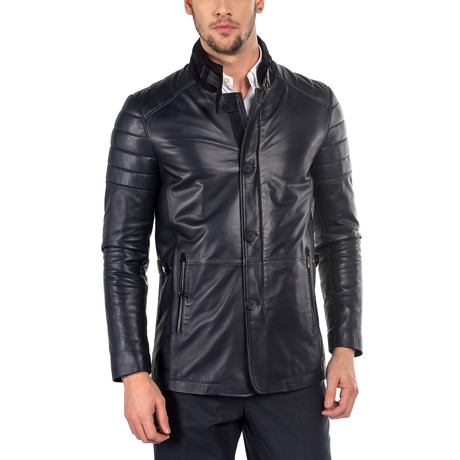 Gabriele Leather Jacket Slim Fit // Navy (XS)