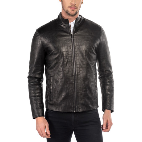 Zane Leather Jacket Regular Fit // Black (XS)