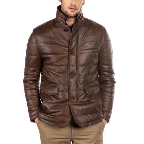 Ben Leather Coat Slim Fit // Antique Brown (XS)