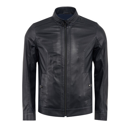 Rufus Leather Jacket Slim Fit // Black + Navy Lining (XS)