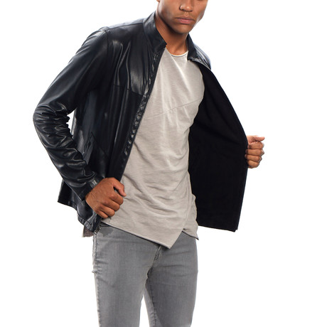 Theo Leather Jacket Regular Fit // Black (XS)