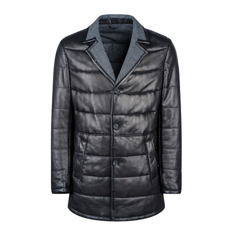 Ryan Leather Coat Regular Fit // Black (XS)