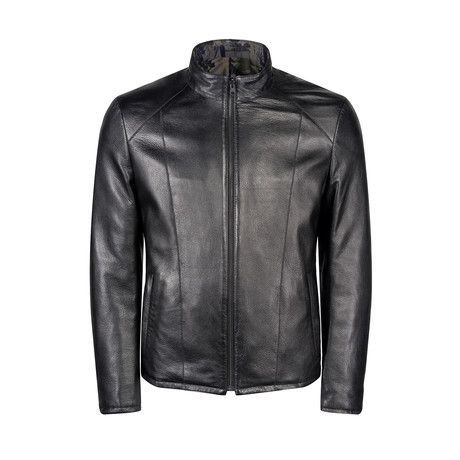 Ray Leather Jacket Slim Fit // Black (XS)