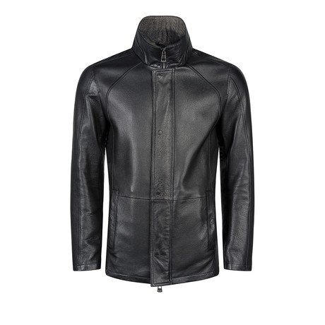 Avery Leather Jacket Regular Fit // Black (XS)